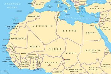 North Africa and Middle East political map with most ...