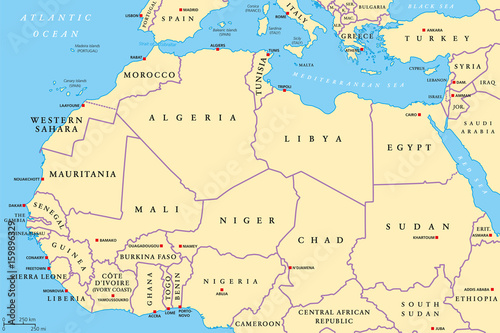 North Africa countries political map with capitals and borders