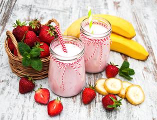 Yogurt with strawberries and bananas