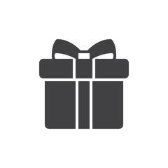 Gift box with bow icon vector, filled flat sign, solid pictogram isolated on white. Symbol, logo illustration. Pixel perfect
