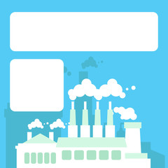 Illustration of a white and light green colored environmentally friendly factory on a blue background