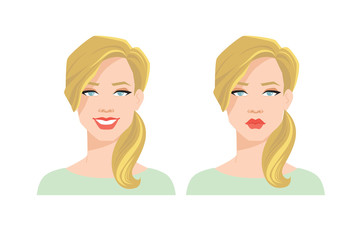 Vector illustration of pretty woman's face with different emotions.