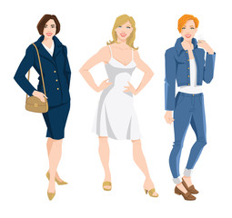 Vector illustration of corporate dress code. Business women in blue ... dc9b6634d