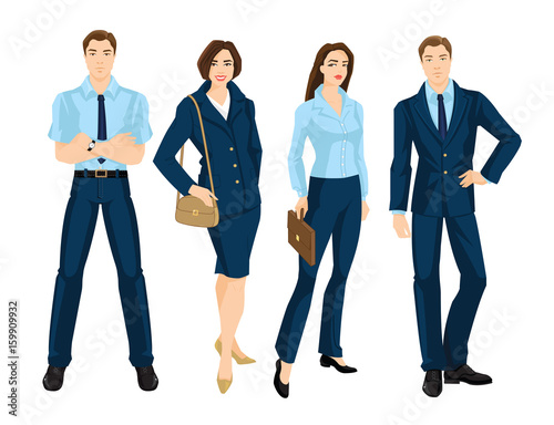 Vector Illustration Of Business People Isolated On White Young