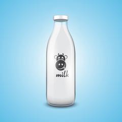 Transparent traditional glass bottle of milk