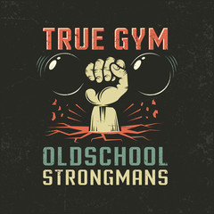 Vintage logo for athletic club or gym. Hand with dumbbells. Worn textures on a separate layer. Vector illustration.