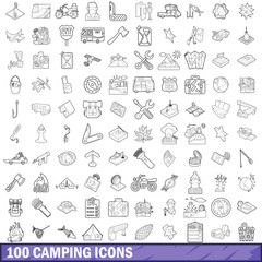 100 camping icons set, outline style