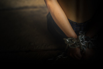 Women of a victim tied up with rope