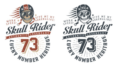 Skull rider in helmet with words in vintage style. Retro hipster emblem, concept. Vector illustration.