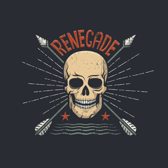 Skull hipster retro emblem with two arrows crossed and renegade word on top.  Vector illustration.