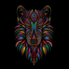 Silhouette of a wolf from abstract vector patterns on a black background