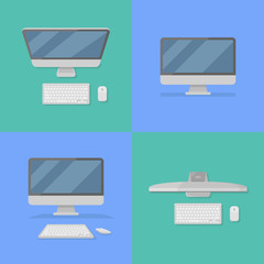Set of desktop personal computer with monitor, keyboard and mouse flat style icons. Vector illustration.