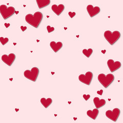 Red stitched paper hearts. Abstract scattered pattern on light pink background. Vector illustration.