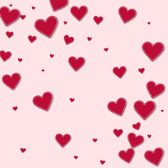 Cutout red paper hearts. Abstract scattered pattern on light pink background. Vector illustration.