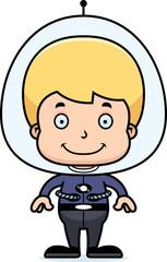 Cartoon Smiling Spaceman Boy