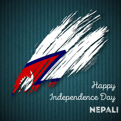 Nepal Independence Day Patriotic Design. Expressive Brush Stroke in National Flag Colors on dark striped background. Happy Independence Day Nepal Vector Greeting Card.