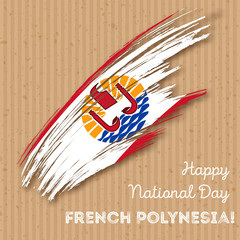 French Polynesia Independence Day Patriotic Design. Expressive Brush Stroke in National Flag Colors on kraft paper background. Happy Independence Day French Polynesia Vector Greeting Card.