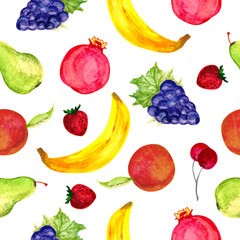 Watercolor seamless fruits pattern. Hand drawn Illustration of black grape, pomegranate, pear, peach, banana, strawberry and cherry. Watercolor Illustration isolated on white background.