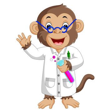 Monkey Conducting a Laboratory Experiment