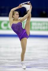 Viveca Lindfors of Finland performs during the ladies free program at the ISU European Figure Skating Championship in Bratislava