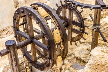 Nachbildung eines historischen Antriebsrades zur Wasserversorgung