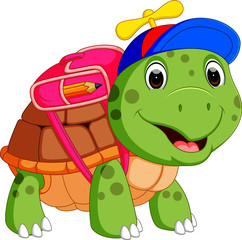 Cute turtle go to school