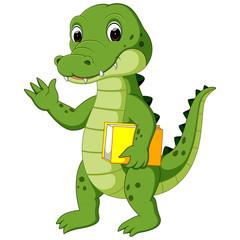 Cute crocodile carrying book