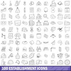 100 establishment icons set, outline style