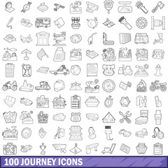 100 journey icons set, outline style