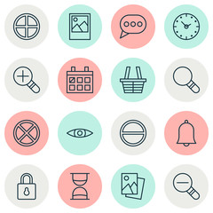 Internet Icons Set. Collection Of Glance, Zoom Out, Image And Other Elements. Also Includes Symbols Such As Safeguard, Plus, Lock.