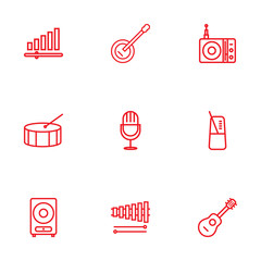 Set Of 9 Song Outline Icons Set.Collection Of Station, Amplifier, Guitar And Other Elements.