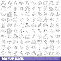 100 map icons set, outline style