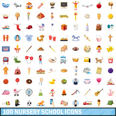 100 nursery school icons set, cartoon style