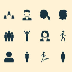 Person Icons Set. Collection Of Businesswoman, Jogging, User And Other Elements. Also Includes Symbols Such As Male, Rejoicing, Woman.