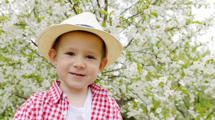 Portrait of little boy in the spring garden. Blooming tree on the background