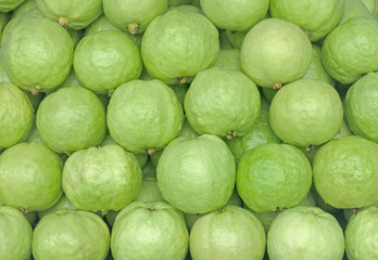 Guava (Psidium guajava). Exotic tropical fruits on a market stall