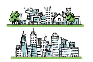 Cartoon hand drawing city, with color on white background.