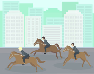 Businesspeople horse racing. Business people in a horse race to achieve their goal. Business people competition concept illustration vector.