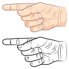 Vector illustration of a pointing finger, both in color and black and white.