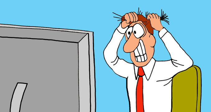 Business cartoon illustration of a business man pulling his hair out as he looks at his computer screen.