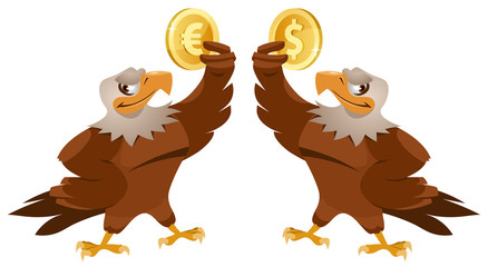 One eagle holding dollar symbol and another eagle holding euro symbol . Cartoon styled vector illustration. Elements is grouped. Isolated on white.