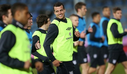 England's Steven Taylor during training