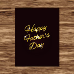 Happy Father's Day card with golden handwritten text