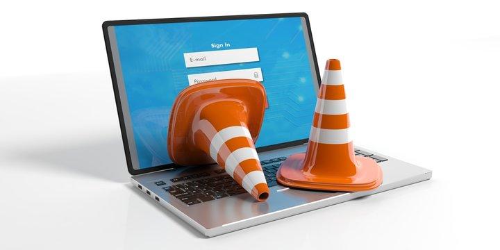 Traffic cones on a laptop, 3d illustration