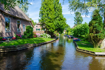 View of typical houses of Giethoorn, Netherlands.