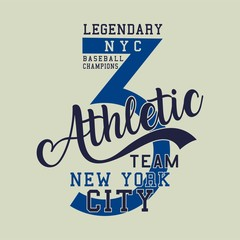 Design alphabet and numbers legendary baseball champions athletic for t-shirts