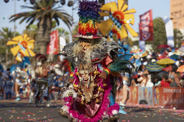 Tobas dancer in traditional Andean costume performing at the annual Carnaval Andino con la Fuerza del Sol in Arica, Chile.