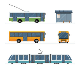 Flat style concept of public transport. Set of city trolley bus, bus, tram and  bus stop isolated on white background. Vector illustration.
