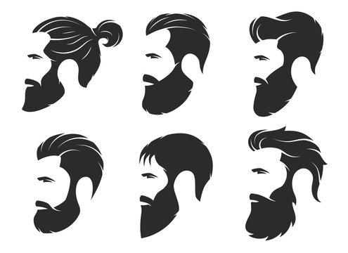 Set of silhouettes of a bearded men, hipster style. Barber shop emblems.