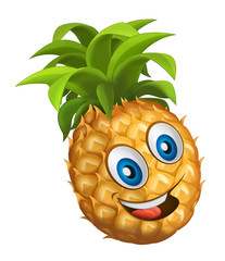 cartoon vegetable smiling and looking pineapple / illustration for children